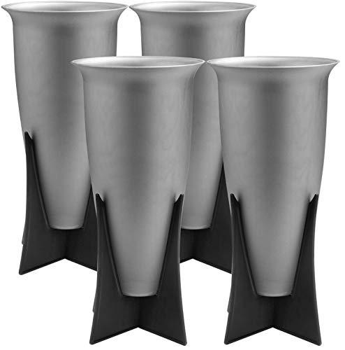 com-four® 4X jarrones con Soporte - florero de Cementerio con Soporte Plegable - florero como decoración de tumbas (04 Piezas - jarrón con Soporte)
