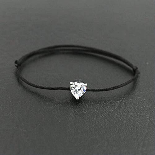 POMU glanzende kristal zirkoon liefde vorm bedelarmband voor vrouwen paren liefhebbers rode touw draad wens gevlochten