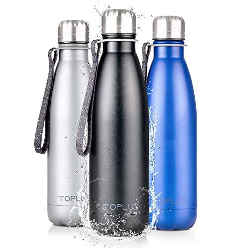 TOPLUS Thermobecher/Isolierbecher 500ml, Thermosflasche Isolierflasche, Vakuum Isolierte 304 Edelstahl Reisebecher, Kein BPA Trinkflasche - 24 Std Kühlen & 15 Std Warmhalten, 100% dicht, Schwarz