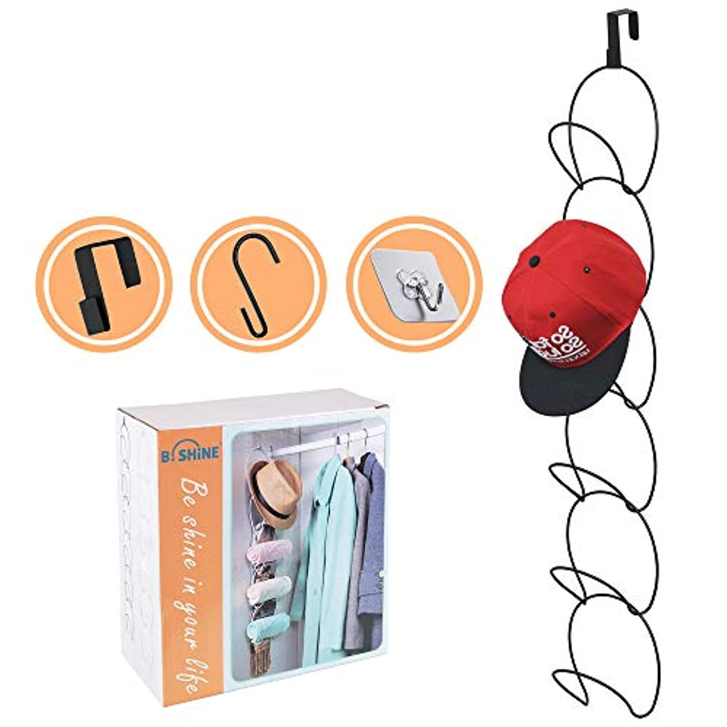 B. SHINE Cap Rack Hat Organizer – Hanging Caps Hats Scarfs Organizer Rack, 6/8 Rings Multifunctional Door/Wall/Closet Mounted Racks