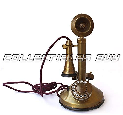 Vintage Brass Antique Solid Candle Stick Telephone Double Ringer Western Electric Phone