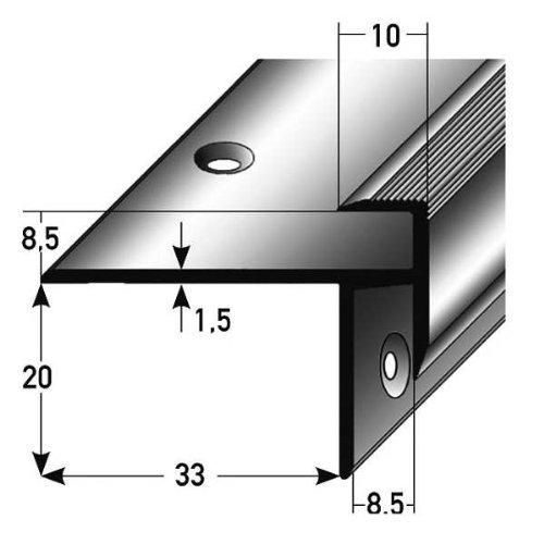 **TOPSELLER** 5 x 2,5 Meter Laminat-Treppenkante / Winkelprofil, Einfasshöhe 8,5 mm, 33 mm breit, Aluminium eloxiert, gebohrt