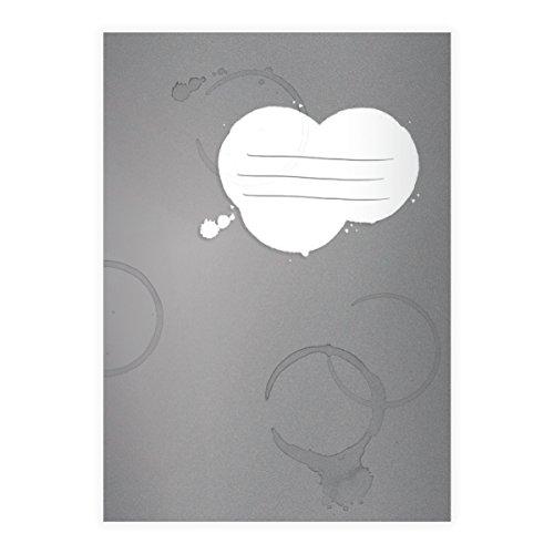 Kartenkaufrausch 1 coole vlekken DIN A4 schoolschrift, schrijfschrift met koffiekopjes randen op grijs liniatuur 27 (gelinieerd boekje)