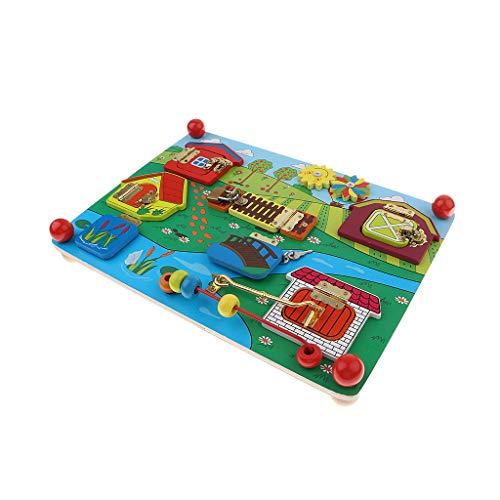 non-brand Juguete Montessori Infantil Tablero de Cerradura de Granja/Tren jugeo para Desarrollo de Ccerebro de Niños - Estilo 2