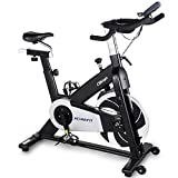 ECHANFIT Magnetic Belt Drive Exercise Bike Stationary Indoor Cycling Bike With Infinite Resistance Levels Multiple Hand Grip Positions Tablet Holder And 30 LBS Quiet Flywheel For Home Workout