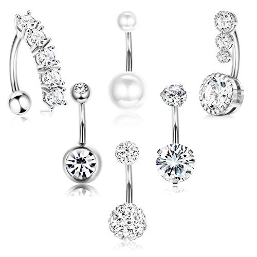 XCOIN Belly Button Rings Surgical Steel Reverse Navel Rings for Women Curved Barbell CZ Cute Body Piercing Jewelry 14G 6Pcs