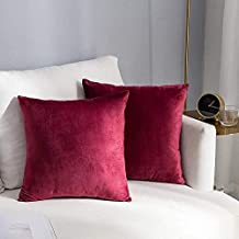 In House Maroon Red Velvet Decorative Solid Filled Cushion, 30 * 30 centimeter