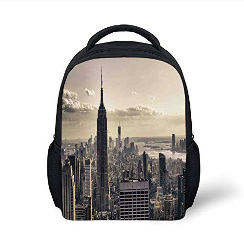Kids School Backpack NYC Decor,Aerial View NYC in Winter Time American Architecture Historical Popular Metropolis Photo,Beige Grey Plain Bookbag Travel Daypack
