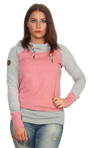 mazine Damen Sweatshirt Mardie Hoody mit Kapuze Langarmshirt Pullover Oberteil Grey Mel/Mauve Mel. XL