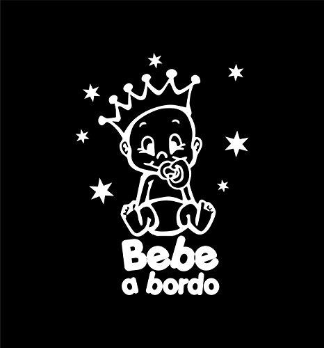 Artstickers 2 Unidades Bebe a Bordo, Corona Estrellas (para 2 Coches) - Blanco - Incluye Pack 12 Estrellas para Libre colocación Adhesivo Bebe a Bordo - BABYFUN COLLECTIÓN, Marca Registrada