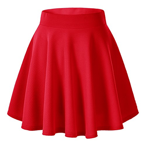 Urban GoCo Falda Mujer Elástica Plisada Básica Patinador Multifuncional Corto Falda (S, Rojo)