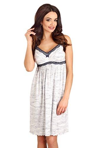 Lupoline Charmantes Stillnachthemd/Umstandsnachthemd, Größe 40 (L), Farbe Weiß mit Blau