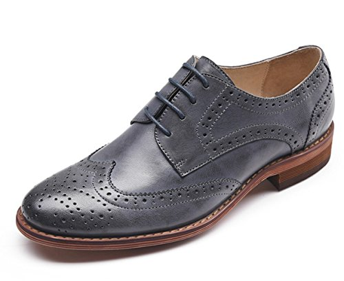 U-lite Women Blue Perforated Lace-up Wingtip Leather Flat Oxfords Vintage Oxford Shoes 5.5 bl