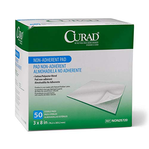 """Medline Curad Sterile Non-Adherent Pad, 3""""x8"""" (Pack of 50) - NON25720Z"""