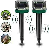 Repellente Solare, [2 pezzi] Repellente per Talpe da Ultrasuoni Energia Solare/IP66 Impermeabile a 5 Frequenza Regolabile per Giardino Anti-talpe, Spavento vole, Repulsione talpa, ratti, Serpenti