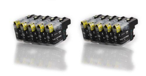 Multipack – 10x schwarz Druckerpatronen (LC-127 BK) kompatibel zu BROTHER mit CHIP für Brother MFC-J4110 DW MFC-J4410 DW MFC-J4510 DW MFC-J4610 DW MFC-J4710 DW