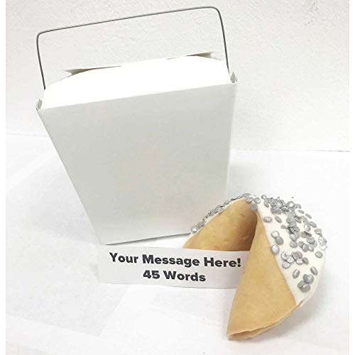 Jumbo Custom Fortune Cookie   Personalize Your Message   Hand Dipped in Chocolate   'Silver Foxy' Sprinkles