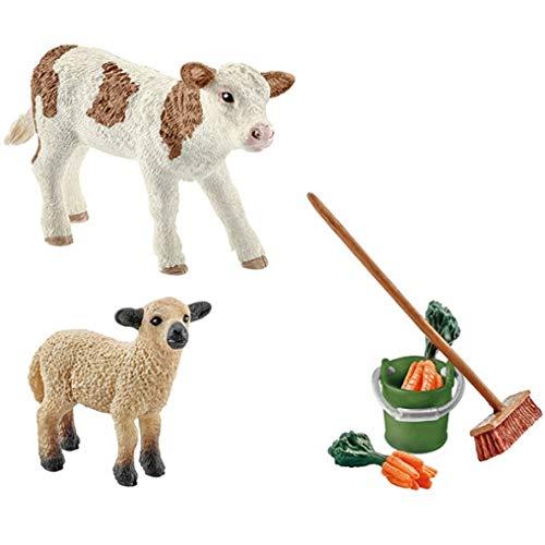 Schleich 41422- Spielzeugfigur, Stallpflege mit Kalb und Schäfchen - 2