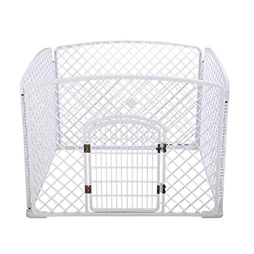 QNMM Box per Cani, Pet Protable Folding Esercizio Pen Dog Dog, 4 Pannelli PP Resin Pet Cage Kennel for Puppy,White