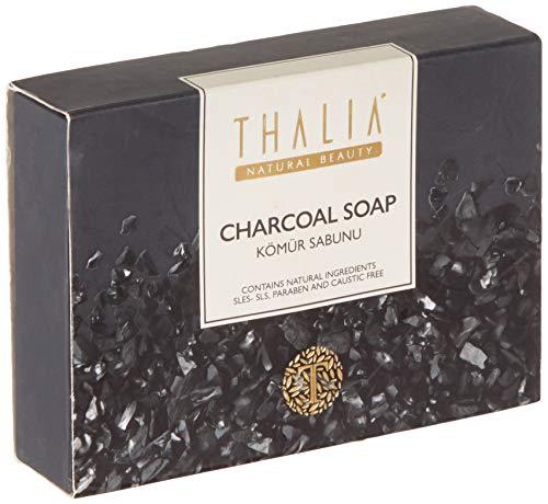 Thalia Natural Beauty 2x75g Aktivkohle Naturseife zur natürlichen Pflege von Haut, Haar und Gesicht I 100% BIO Duschseife I Charcoal Soap, Gesichtsseife