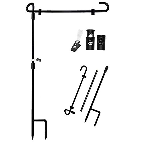 Garden Flag Stand Banner Flagpole, Black Wrought Iron Yard Garden Flag Pole - Holds Flags up to 12.5' in Width for Outdoor Garden Lawn
