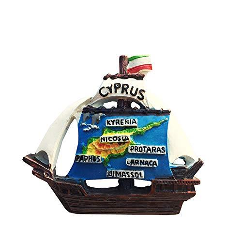 3D-Kühlschrankmagnet in Form eines Segelboots, Zypern, Souvenir, Geschenk, Dekoration, Kühlschrank-Magnet-Sticker-Kollektion