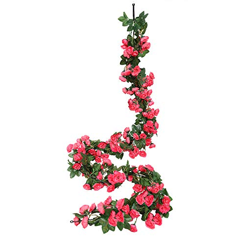 Luyue 2 Pack 69 Heads Artificial Rose Vine Flowers Garlands Decorations Floral Hanging Garden Craft Rose Ivy Plants for Wedding Arch Arrangement (Fuschia)