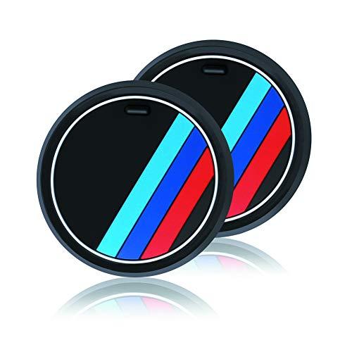 YIKA 2 Stück M Linie Auto Innenraum Zubehör Anti-Slip Untersetzer für BMW 1 3 5 7 Serie F30 F35 320li 316i X1 X3 X4 X5 X6 (Durchmesser 2.6