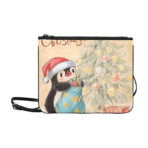 N\A Umhängetaschen Grußkarte Pinguin Weihnachtsbaum Geschenke Verstellbarer Schultergurt Ausgefallene Clutch Taschen Für Frauen Mädchen Damen Reißverschluss Handtasche Mode Handtaschen