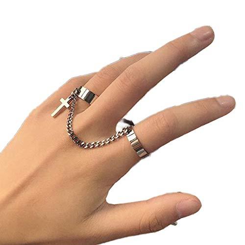 Ba30DEllylelly Vintage Kreuzkettenring Verstellbarer Gelenkring Hip Hop Punk Fingerringe für Frauen Männer Egirl Dating Party Schmuck