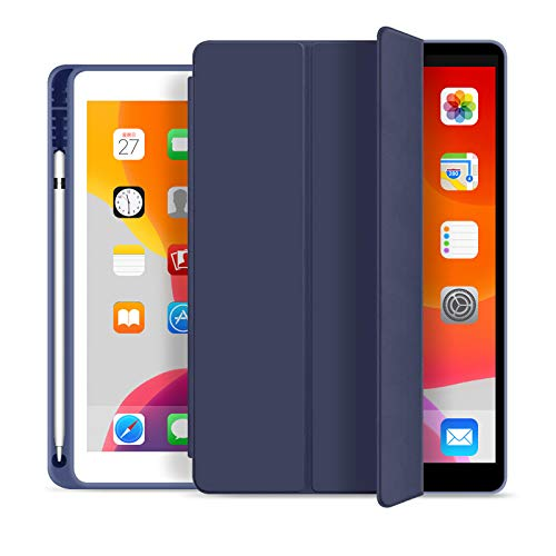 BLITY Case for Ipad Mini 4 5, PU Leather Trifold Slim Fit Pencil Holder Stand Smart Cover with Soft TPU Back Case [Auto Sleep/Wake] for Apple Ipad Mini 4, Mini 5(Navy Blue)