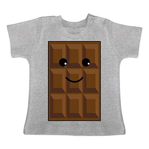 Partner-Look Familie Baby - Partnerkostüm Schokolade - 3/6 Monate - Grau meliert - BZ02 - Baby T-Shirt Kurzarm