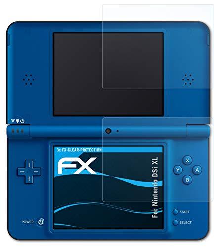 atFoliX Schutzfolie kompatibel mit Nintendo DSi XL Folie, ultraklare FX Displayschutzfolie (3er Set)