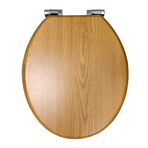 Cambridge Traditional Wood Effect Oak Toilet Seat Soft Close Hinges Universal Seat