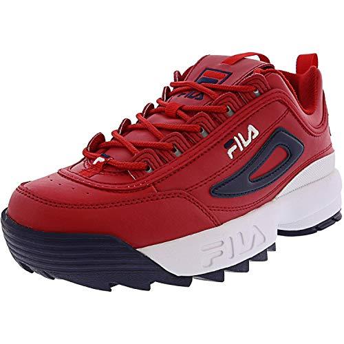 Fila Men's Disruptor II Premium Sneakers Red/White/Navy 10.5