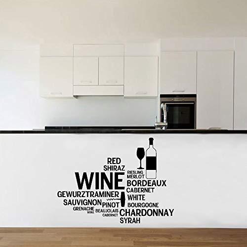 guijiumai Weinbar Flasche Glas Restaurant Worte Vinyl Wandtattoo Wandaufkleber Steuern Dekor Küche Moderne Bar Dekoration Tapete 96X127CM