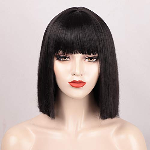 """ENTRANCED STYLES Short Bob Wig for Women, Black Wig with Bangs Mia Wallace Cleopatra Cosplay Wigs Heat Resiatant Synthetic Wigs Daily Party Halloween Costume Use 12"""""""
