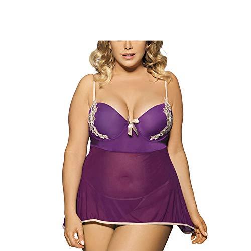 CYYMY Sexy Stickerei Babydoll Nachthemd für Damen Teddy Mesh Perspektive Drucken Nachthemd Set Dessous Clubwear Lila,M