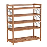 HOMFA Bamboo Shoe Shelf Storage Organizer 5-Tier with 12 Hanging Bar Entryway Shoe Rack, Home Shelf Storage Cabinet for Shoes, Books and Flowerpots Natural