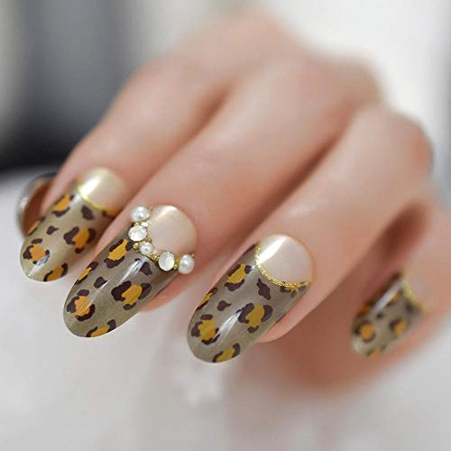 Wangguifu Mode Fantaisie Léopard Art Ongles Bijoux Personnaliser Faux Ongles Ellipse Longue Dame Ongles Conseils Avec La Ligne De Sourire Doré 24