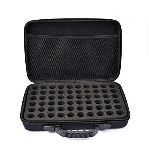 chinejaper 60 Löcher Ätherische Öl Tragetasche Hartschale ätherischen Ölen Storage Case mit Griff Schaumstoffeinlage für ätherische Öle/Nagellack,langlebig und wasserdicht