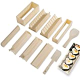 Sushi Making Kit Deluxe Edition with Complete Sushi Set 10 Pieces Plastic Sushi Maker Tool Complete with 8 Sushi Rice Roll Mold Shapes Fork Spatula DIY Home Sushi Tool (Off-white)