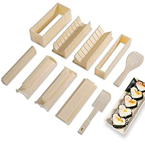 Sushi Making Kit Deluxe Edition with Complete Sushi Set 10 Pieces Plastic Sushi Maker Tool Complete with 8 Sushi Rice…