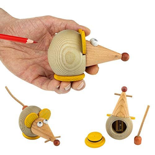 Anspitzer mit Behälter für Kinder - Bleistiftspitzer in lustigen Tiermotiven - perfekt für den Buntstift& Bleistift - Von Trihorse & Janoschik (Maus, Orange)