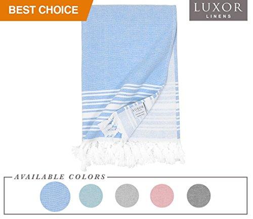 Luxor Linens – Super weiche Hotel-Qualität, 100% Baumwolle, Peshtemal – Imani Kollektion – 1 Stück – 89 x 178 cm Sky