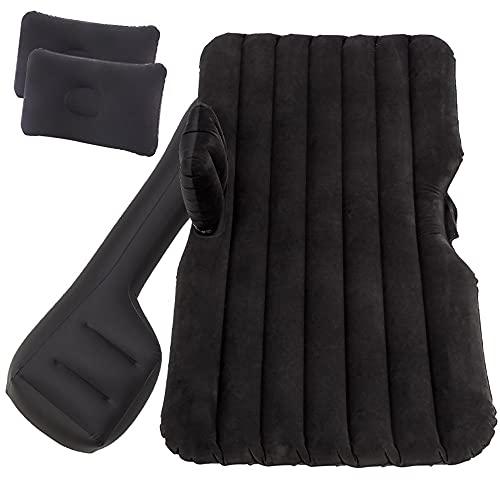 GEARALL Colchón de Aire para Coche para Viajes, colchón Inflable/Cama de Camping, Universal con Dos Almohadas inflables,Negro