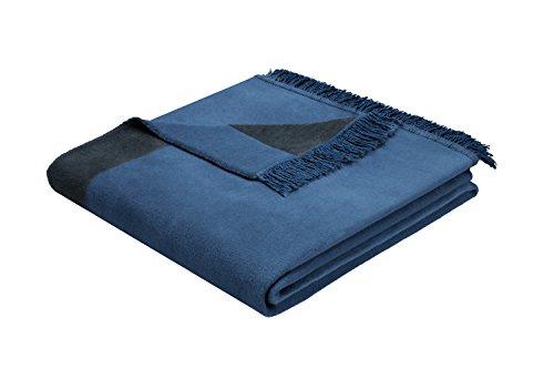 Biederlack Wohn- und Kuscheldecke, 60 {ef6c0ce4c1e9a5d56281ff7c3290ff8b7859b554e310aed1adf170404e4eaf26} Baumwolle, Mit Fransen, 150 x 200 cm, Blau, Orion Cotton Plus Jeans, 646484