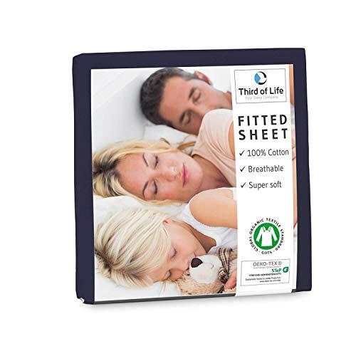 Spannbettlaken 120x200 cm aus 100% Oekotex-Baumwolle, GOTS zertifiziert I Das atmungsaktive & fusselfreie Bettlaken ALBA ist elastisch & weich I Designed in Germany I 20 cm Höhe, nachtblau