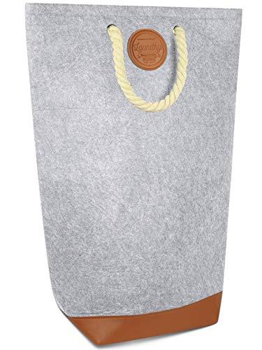 MAHEWA® Wäschekorb Wäschesammler aus Filz-Stoff Groß - 80 Liter - Raumspar Wäsche-Sortierer faltbar - Wäschetruhe Wäschetonne Wäschesack mit Griffen verschließbar - Kordelgriff, Hellgrau - Braun