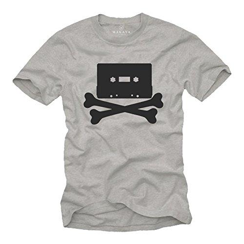 Camiseta Rock Hombre - Vintagae Cassette 80s Retro - Muscia Hip Hop Skull Calavera Gris S